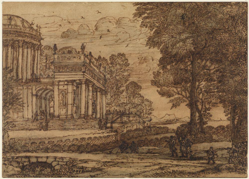 Landschaft mit Bakchos vor dem Palast des Staphylos