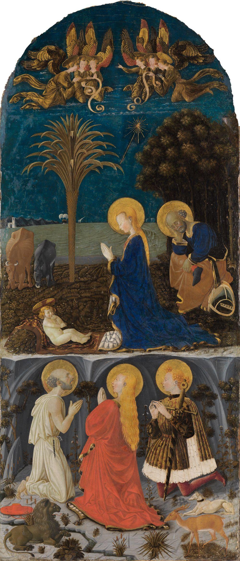 Anbetung des Kindes vor nächtlicher Landschaft mit den Heiligen Hieronymus, Magdalena und Eustachius
