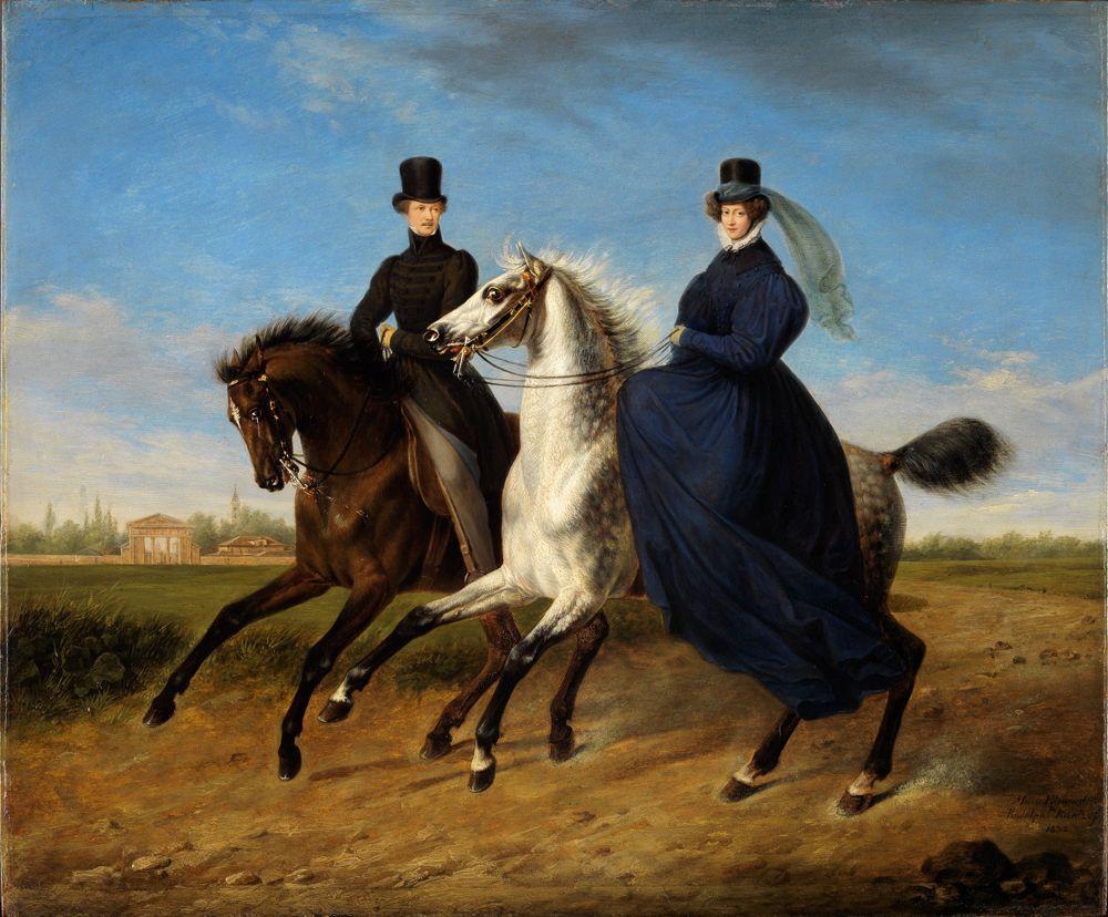 Bildnis des Generals Krieg von Hochfelden und seiner Gemahlin zu Pferde