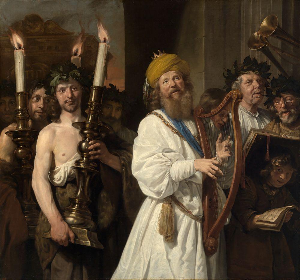 König David geleitet die Bundeslade nach Jerusalem