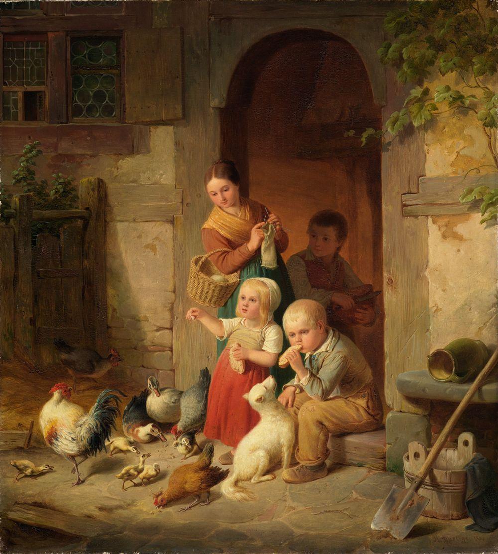 Bauernkinder füttern Hühner