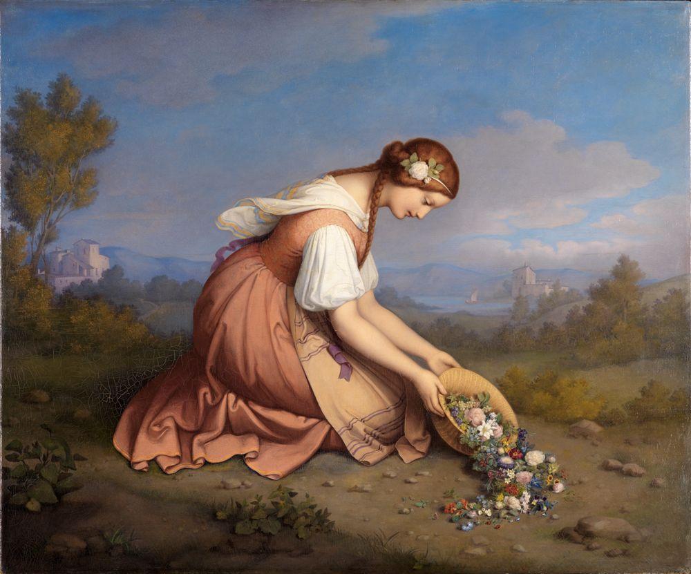Kniendes Mädchen, einen Blumenkorb ausschüttend