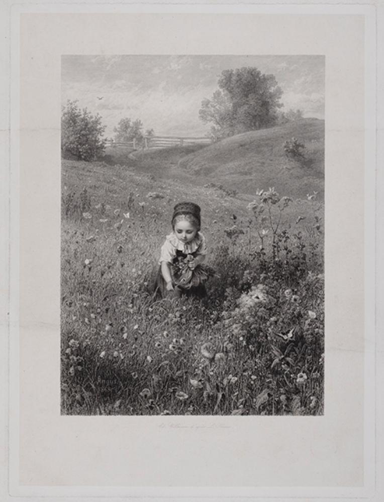Kleines Mädchen an einem Wiesenhang, Blumen in die Schürze sammelnd