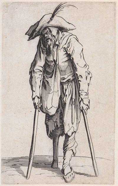 Bettler mit Krücken und Holzbein