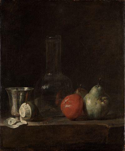 Stilleben mit Glasflasche und Früchten