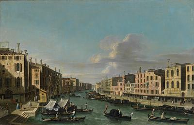Blick auf den Canal Grande nach Südwesten, von der Rialto Brücke bis zum Palazzo Foscari