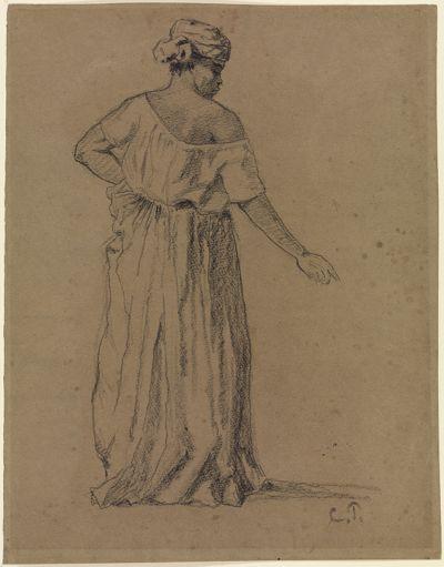 Negerin in Turban und langem Kleid, vom Rücken gesehen