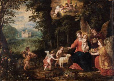Maria mit dem Kinde, dem Johanneskaben und Engeln in einer Waldlandschaft