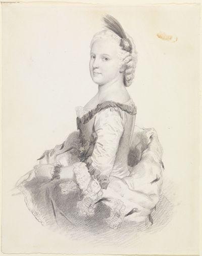 Halbfigurenbildnis der Markgräfin Karoline Luise von Baden, sitzend nach links gewendet