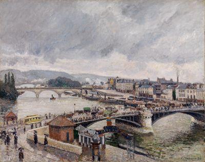 Blick auf die Grosse Brücke zu Rouen bei Regenstimmung
