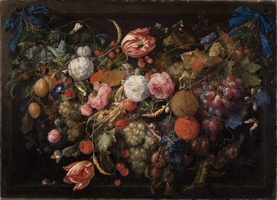 Girlande von Blumen und Früchten
