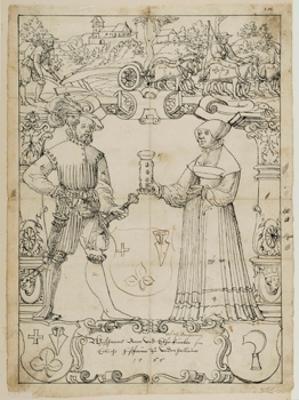 Riss mit Schildbegleiterpaar und den Wappen Ram und Künler, im Oberbild pflügende Bauern