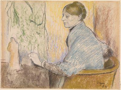 Madame Henri Rouart im Sessel vor einem Tischchen mit Tanagra-Statuette