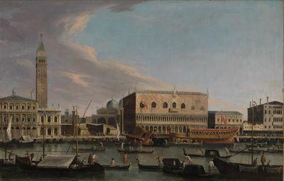 Blick vom Bacino di S.Marco auf den Molo mit Dogenpalast, Piazzetta, Liberia und Zecca