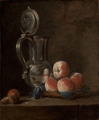 Stilleben mit Zinnkrug und Pfirsichen