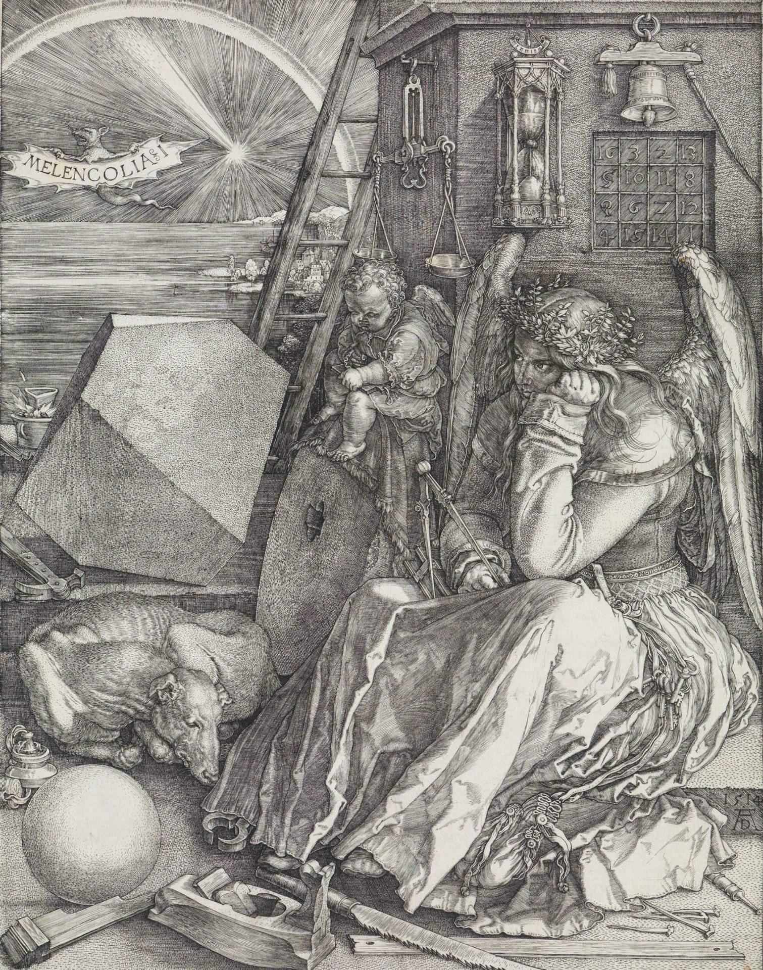 Abbildung des Kupferstiches Melencolia I des Renaissance-Künstlers Albrecht Dürer aus dem Jahr 1514