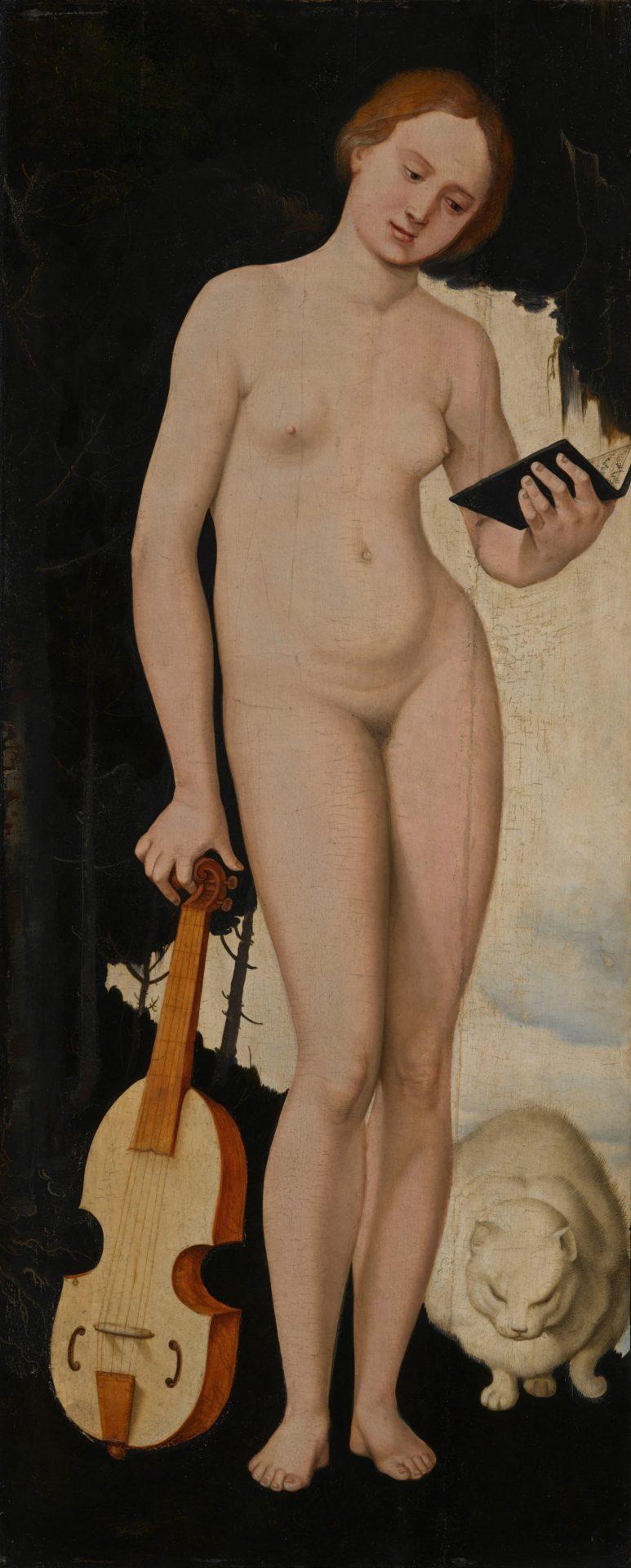 Abbildung des Werks Allegorische Frauengestalt mit Liederbuch, Viola und Katze des Renaissance-Künstlers Hans Baldung Grien aus dem Jahr 1529