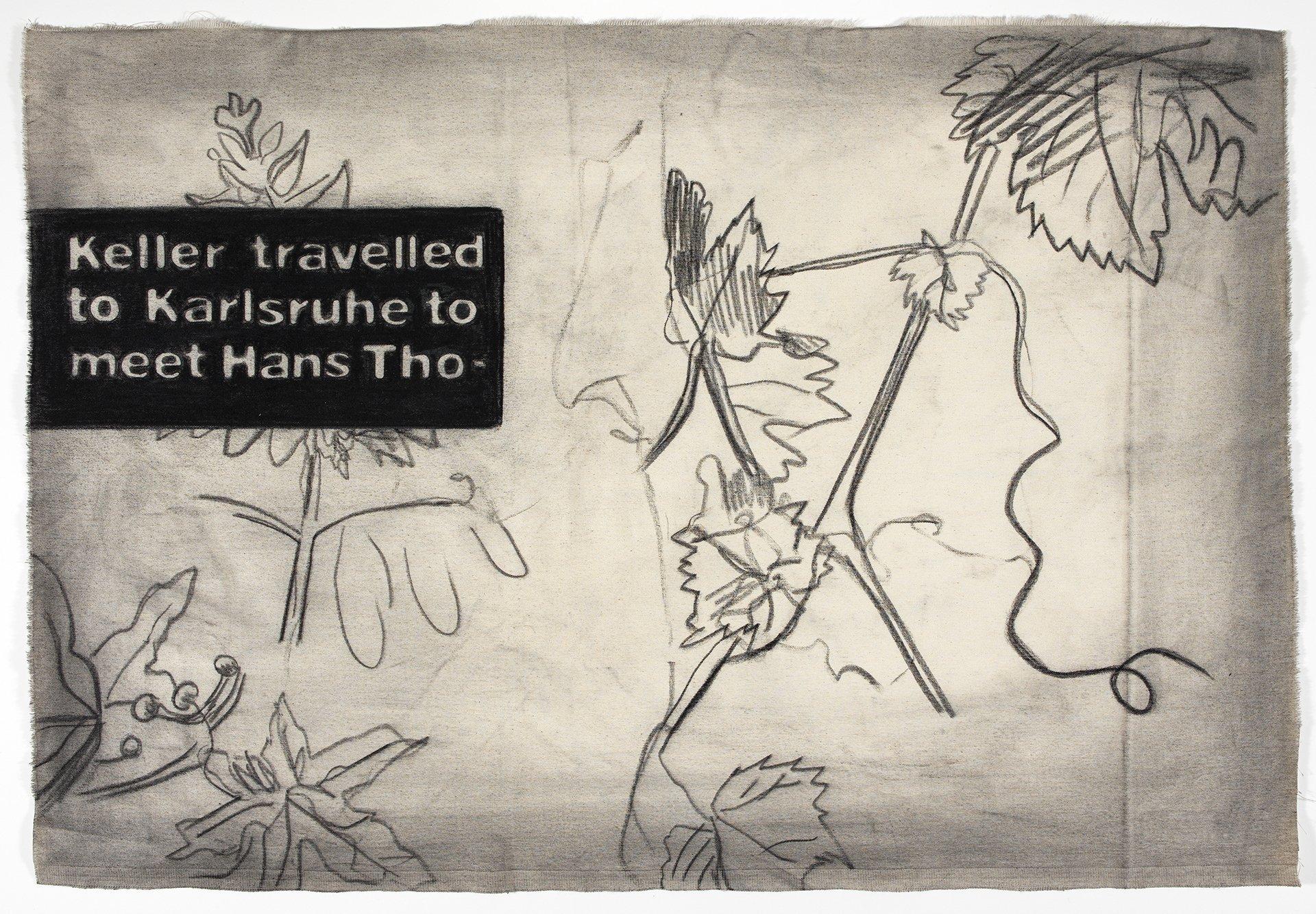 Abbildung einer Zeichnung aus der Bilderzählung Das Karlsruher Skizzenbuch des zeitgenössischen Künstlers Marcel van Eeden aus dem Jahr 2019