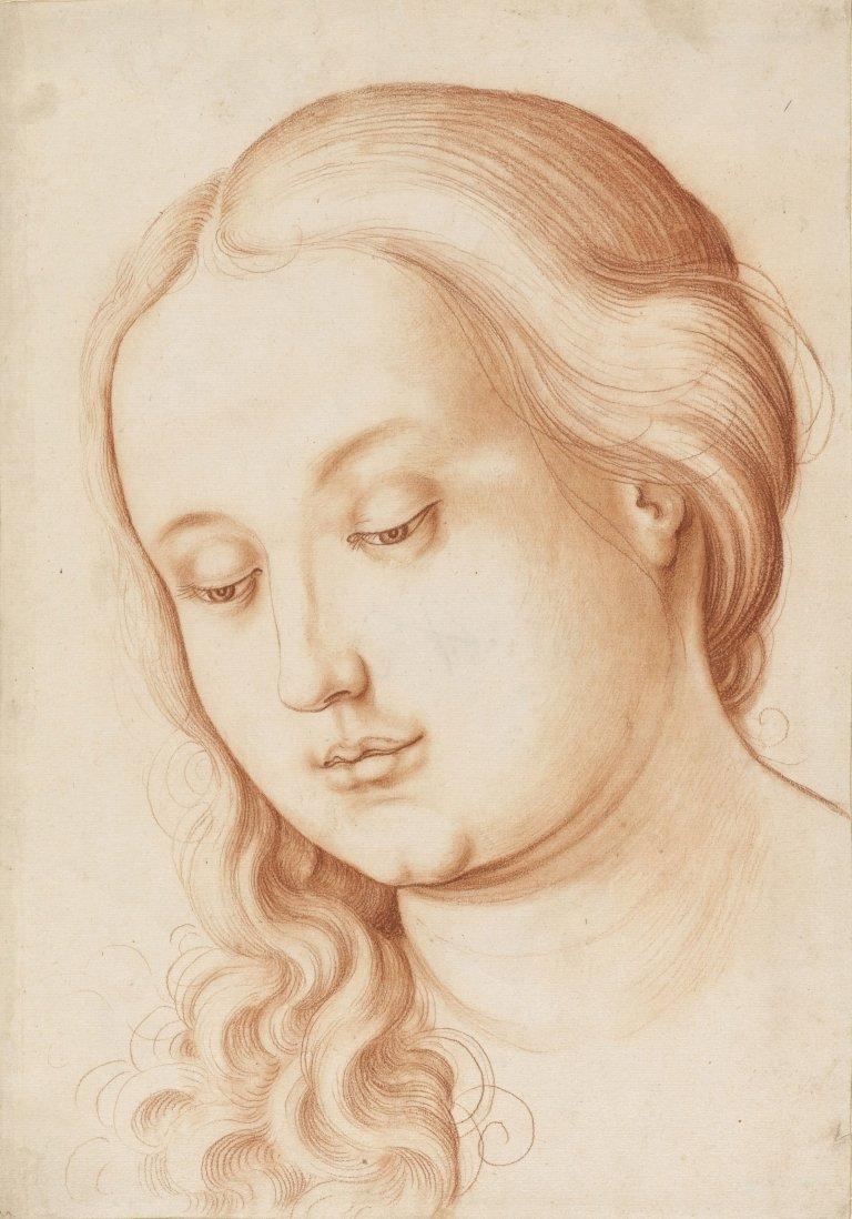 Abbildung des Werks Mädchenkopf mit gesenktem Blick des Renaissance-Künstlers Hans Baldung Grien aus dem Jahr um 1513