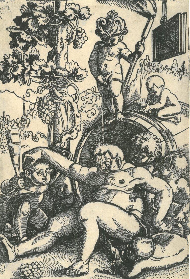 Abbildung des Werks Trunkener Bacchus mit spielenden Putten des Renaissance-Künstlers Hans Baldung Grien aus dem Jahr um 1520