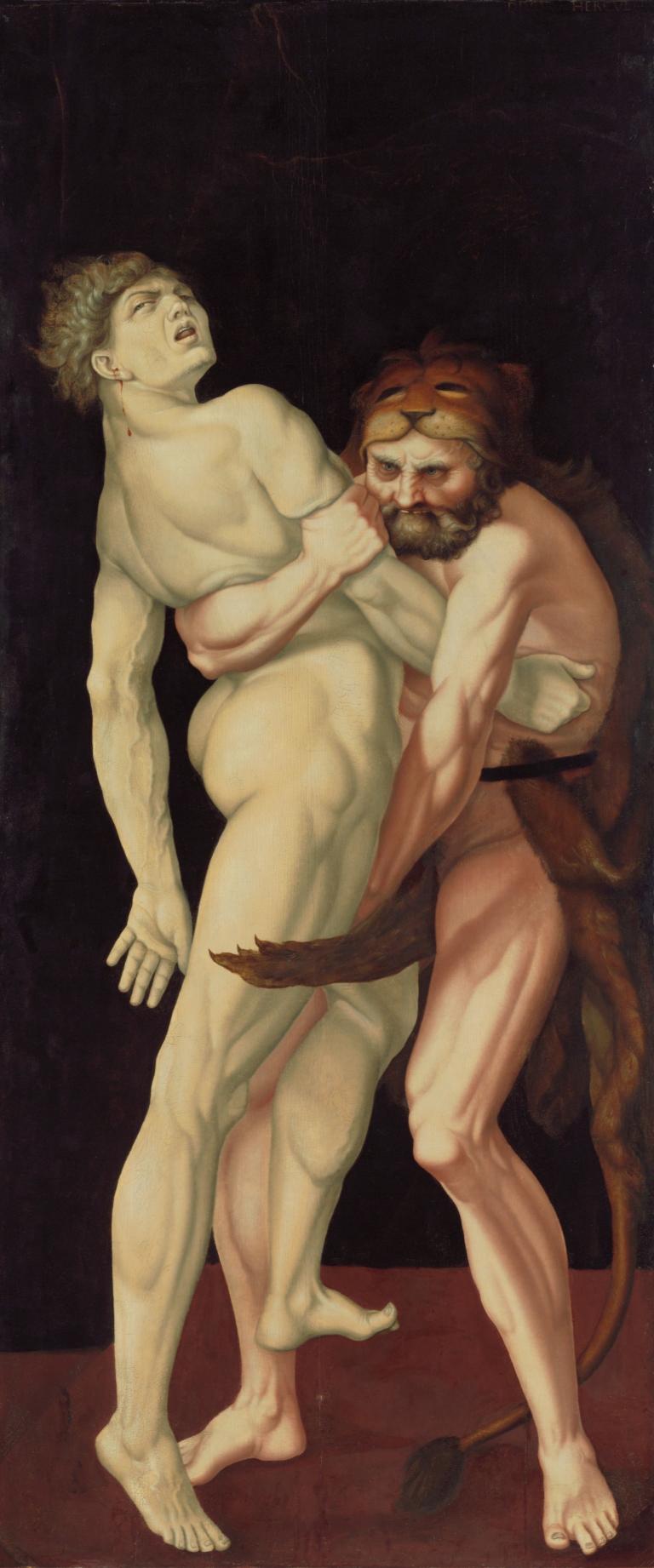 Abbildung des Werks Herkules und Antäus des Renaissance-Künstlers Hans Baldung Grien aus dem Jahr 1531