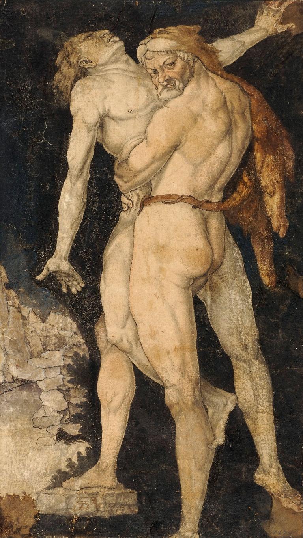 Abbildung des Werks Herkules und Antäus des Renaissance-Künstlers Hans Baldung Grien, das um 1530 entstand