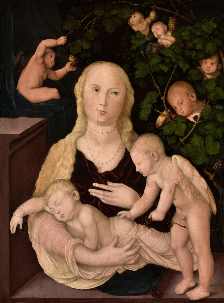 Abbildung des Werks Maria mit der Weintraube des Renaissance-Künstlers Hans Baldung Grien aus dem Jahr 1541-43