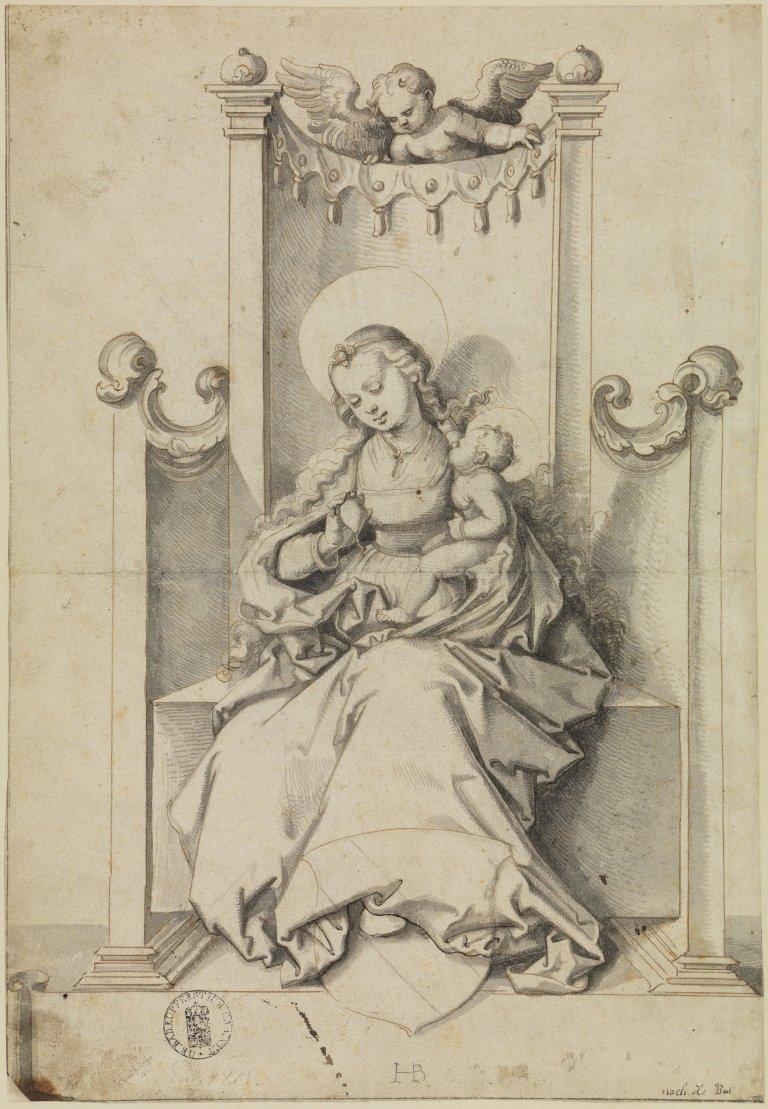 Abbildung des Werks Die thronende Maria mit dem Kinde als Patronin Straßburgs des Renaissance-Künstlers Hans Baldung Grien aus dem 16. Jahrhundert