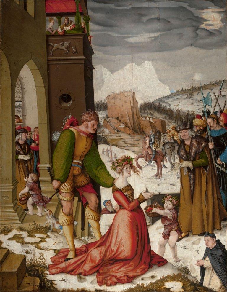 Abbildung des Werks Das Blumenwunder der heiligen Dorothea des Renaissance-Künstlers Hans Baldung Grien aus dem Jahr 1516