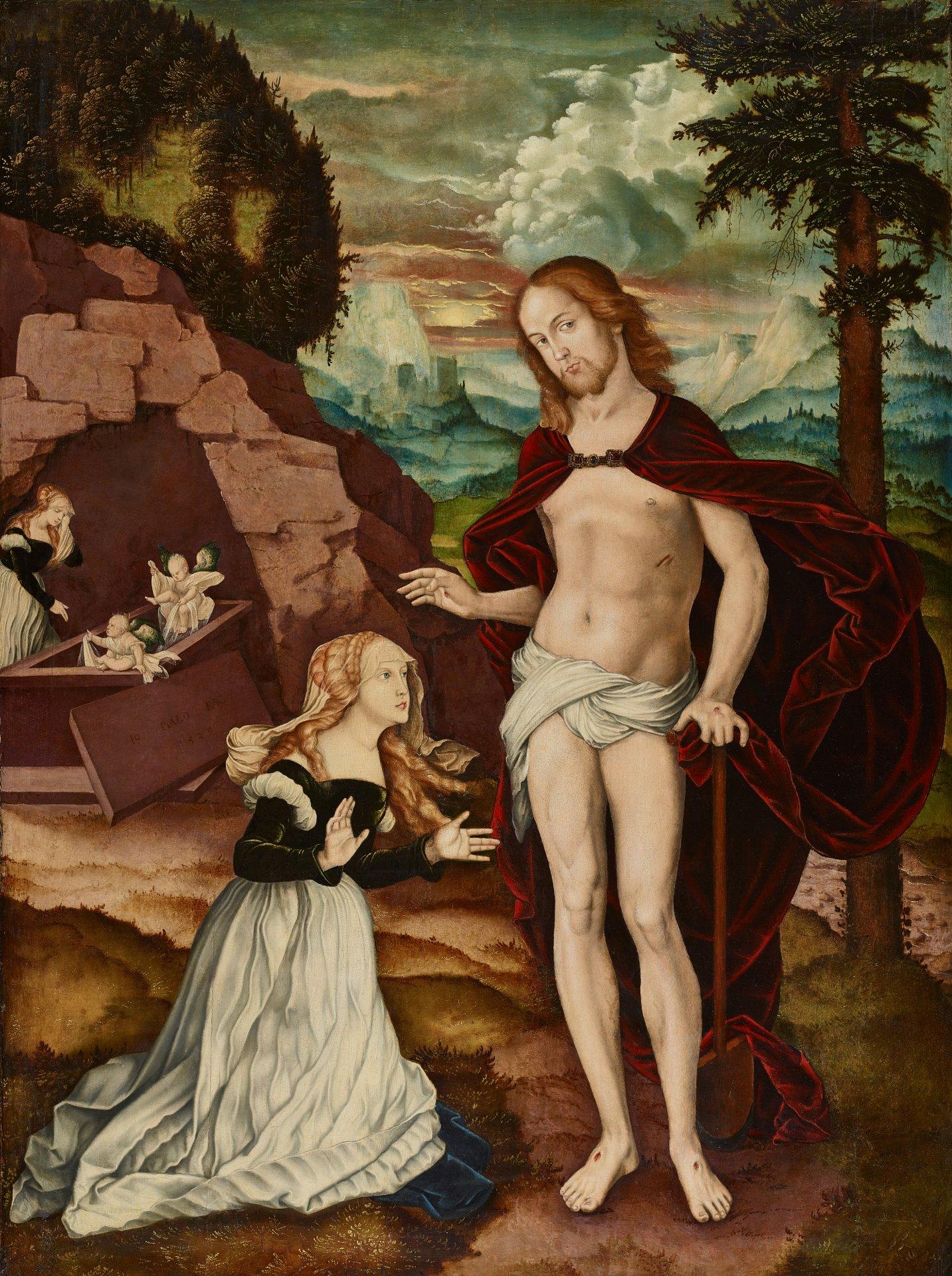 Abbildung des Werks Die Erscheinung des Auferstandenen vor Maria Magdalena (Christus als Gärtner) des Renaissance-Künstlers Hans Baldung Grien aus dem Jahr 1539
