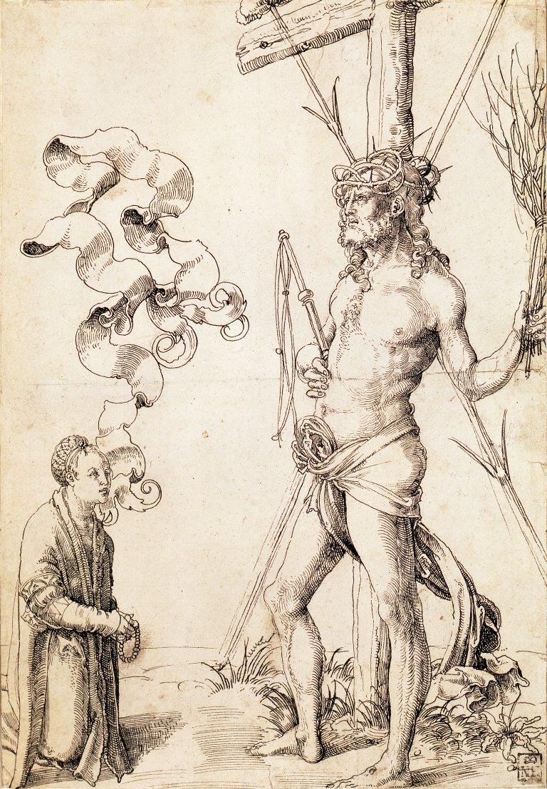 Abbildung des Werks Christoph II. Scheurl vor dem Schmerzensmann des Renaissance-Künstlers Hans Baldung Grien aus dem Jahr 1504