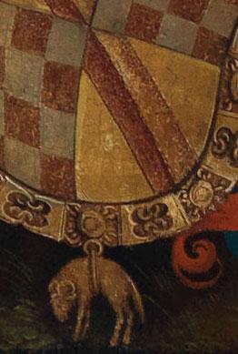 Detailabbildung des Gemäldes Markgraf Christoph I. von Baden mit seiner Familie in Anbetung vor der Heiligen Anna Selbdritt des Renaissance-Künstlers Hans Baldung Grien aus dem Jahr um 1510