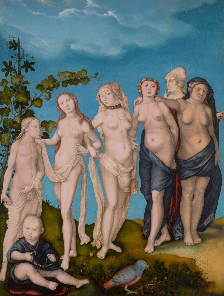 Abbildung des Werks Die sieben Lebensalter der Frau des Renaissance-Künstlers Hans Baldung Grien aus dem Jahr 1944
