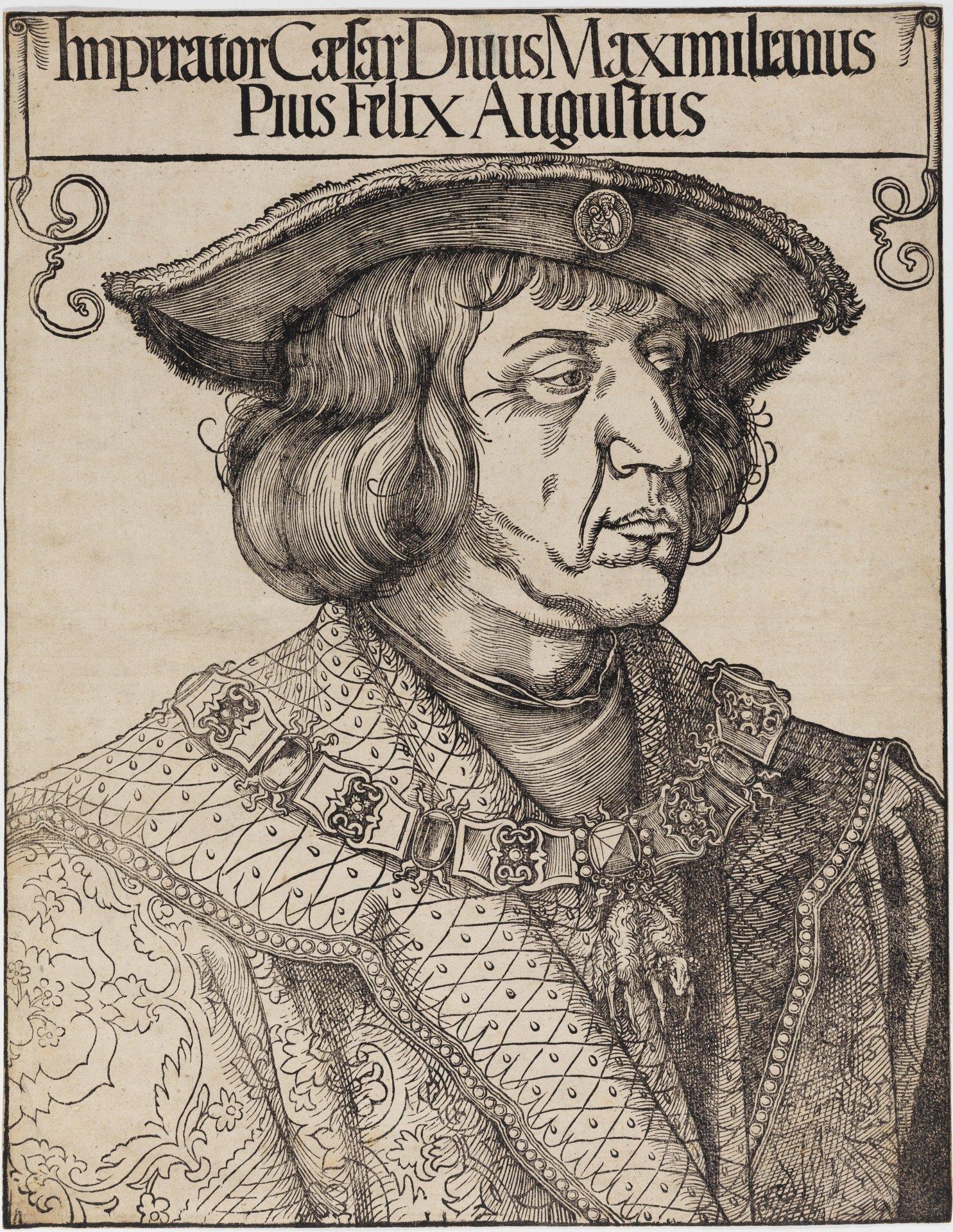 Abbildung des Werks Kaiser Maximilian I. des Renaissance-Künstlers Albrecht Dürers aus dem Jahr 1519