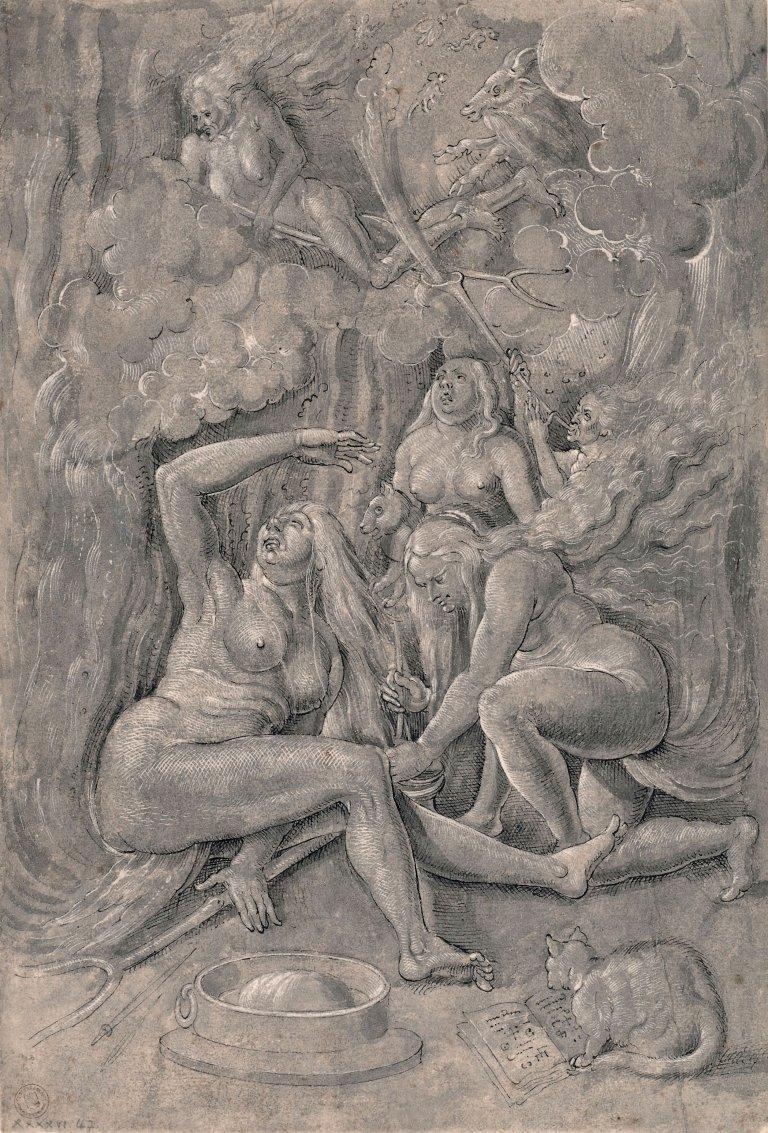 Abbildung einer Kopie des Werkes Hexensabbat nach Hans Baldung Grien aus dem Jahr 1517