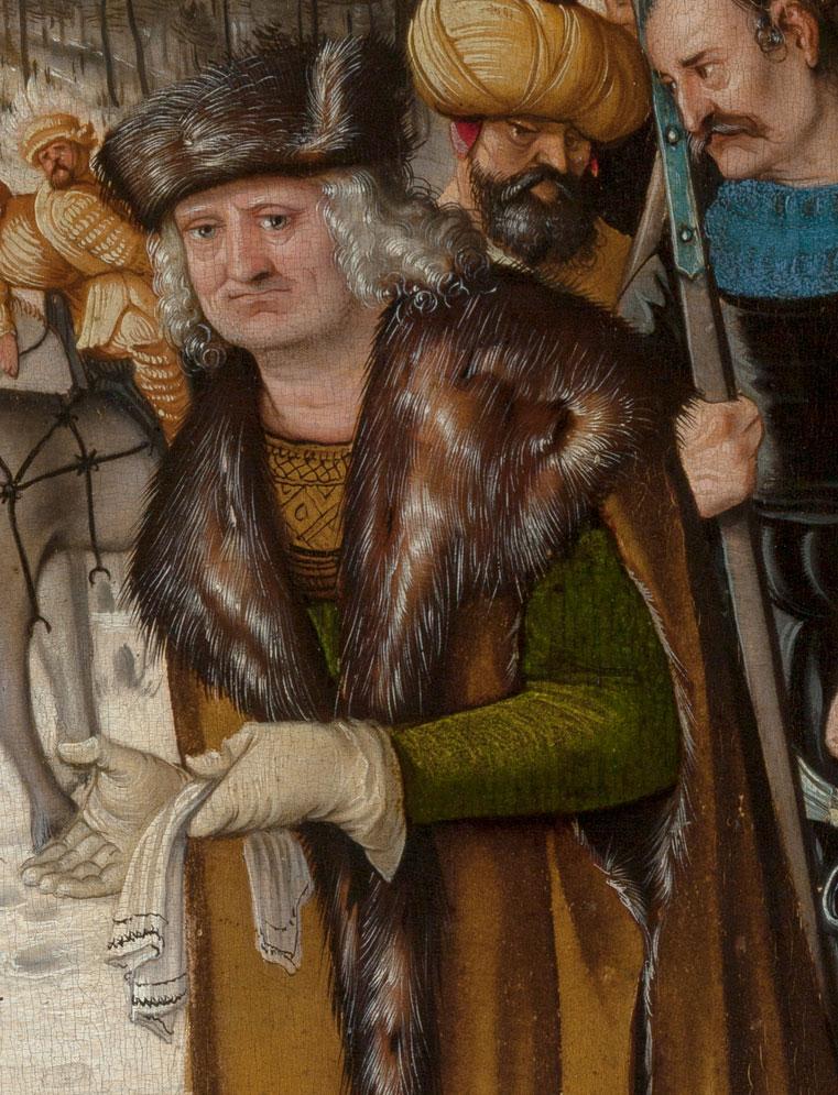 Detailabbildung des Werks Das Blumenwunder der heiligen Dorothea des Renaissance-Künstlers Hans Baldung Grien aus dem Jahr 1516