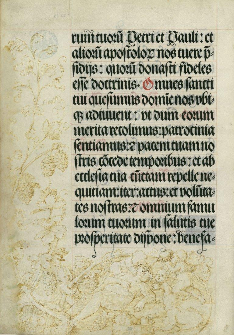Abbildung der Randzeichnung Der trunkene Bacchus im sogenannten Gebetbuch Kaiser Maximilians I. des des Renaissance-Künstlers Hans Baldung Grien aus dem Jahr 1517