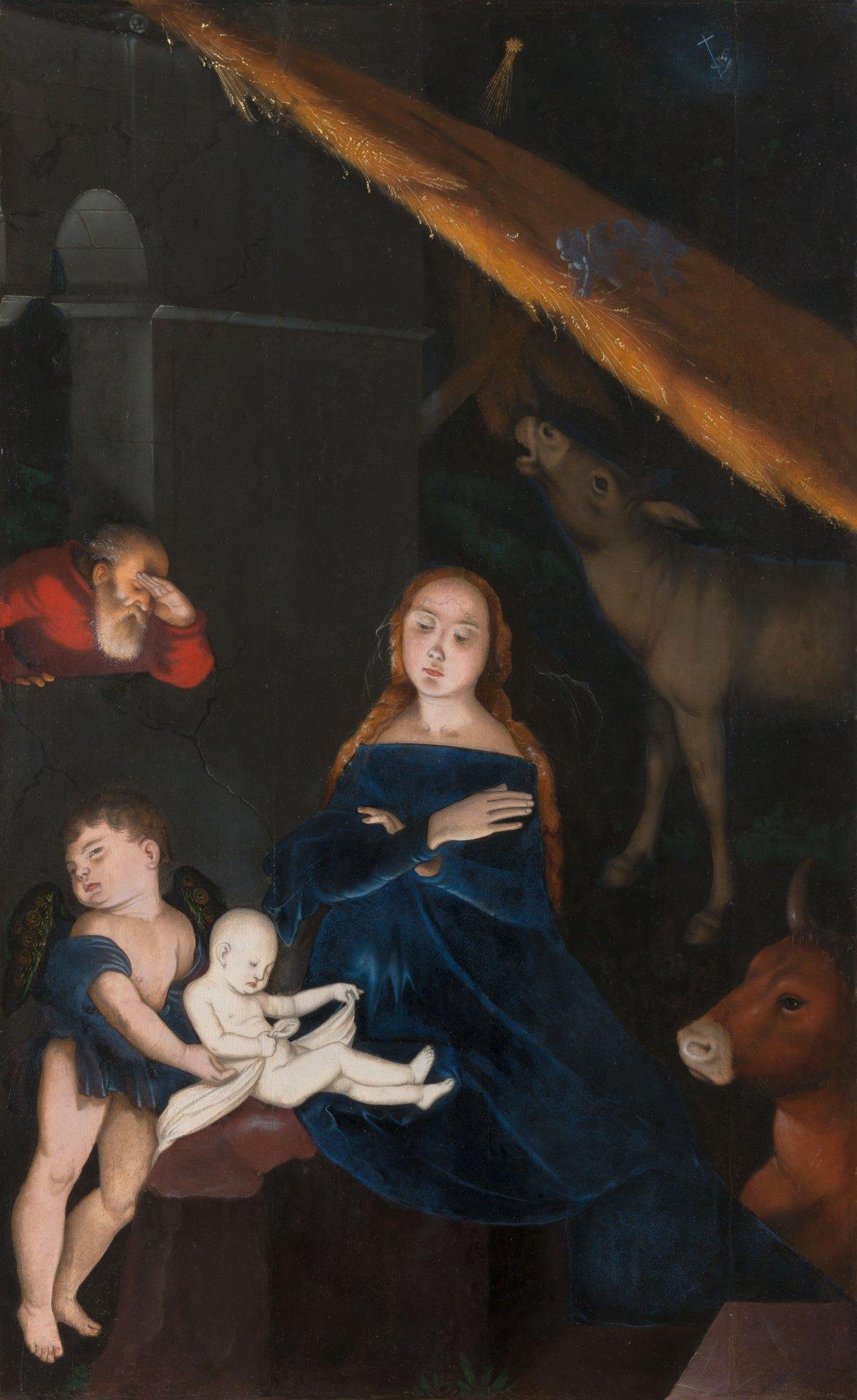 Abbildung des Gemäldes Die Geburt Christi des Renaissance-Künstlers Hans Baldung Grien aus dem Jahr 1525-30