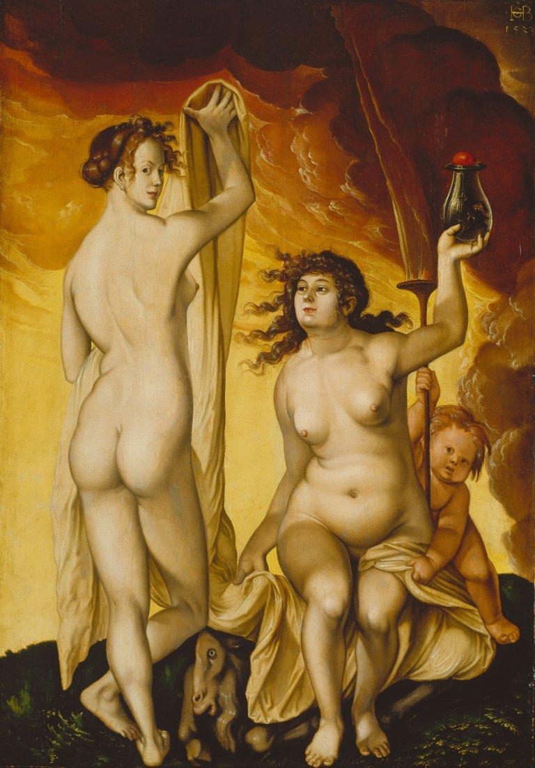 Abbildung des Gemäldes Zwei Hexen des Renaissance-Künstlers Hans Baldung Grien aus dem Jahr 1523