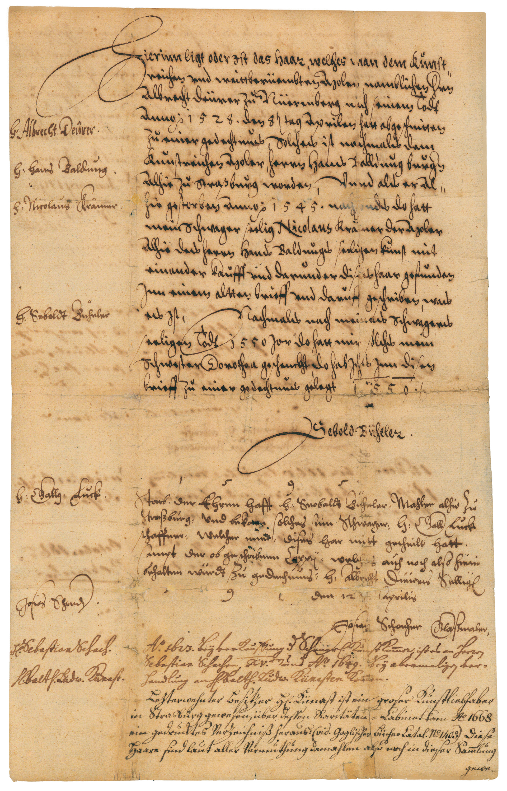 Image of Sebald Büheler: Document describing the provenance of Dürer's lock of hair, 1559–1871 (mounting by Edward von Steinles, about 1871), borrowed from Gemäldegalerie der Akademie der Bildenden Künste Vienna.