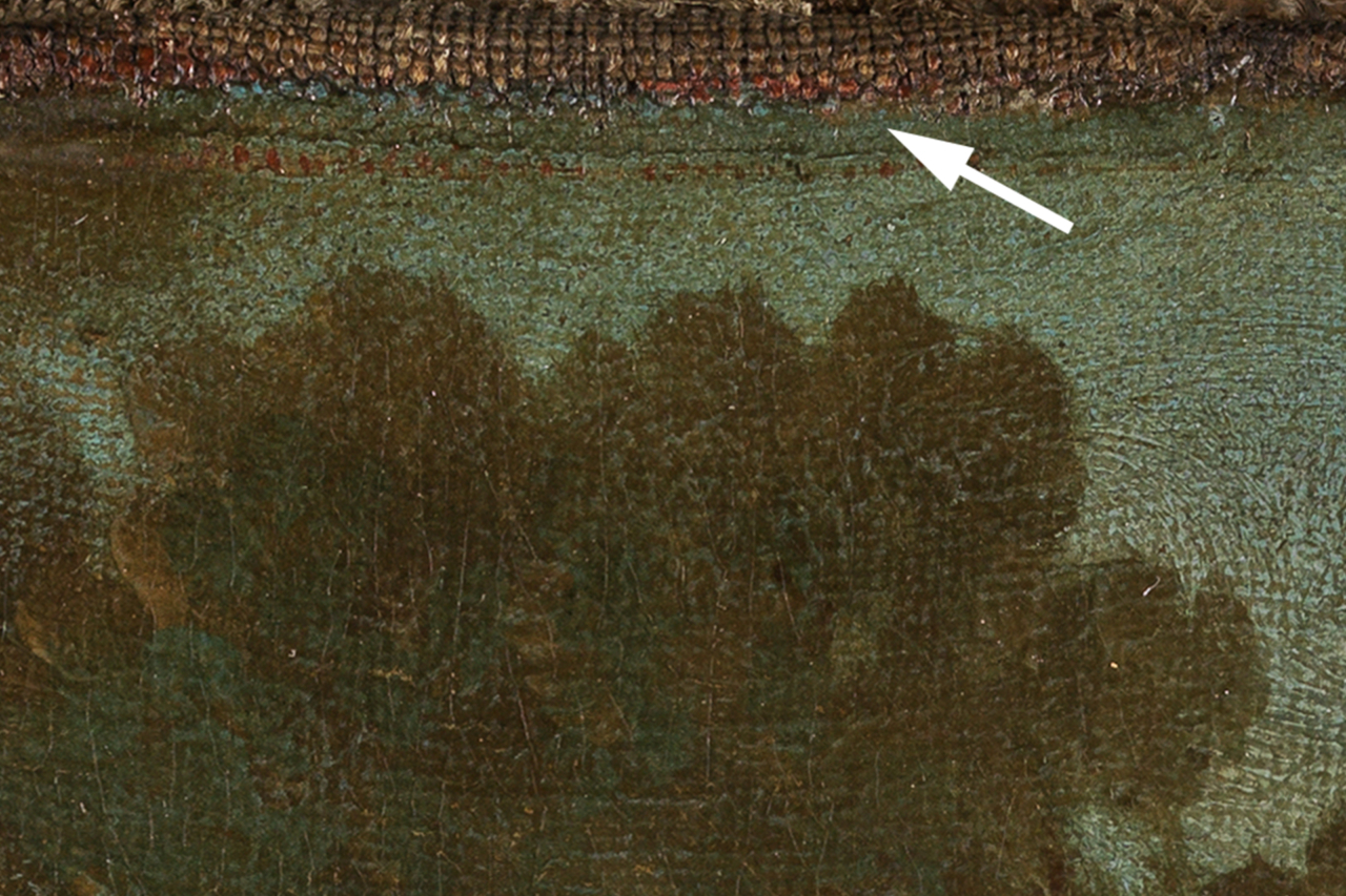 Detail des Boucher-Gemäldes Zwei Schäferinnen, das die Farbkante zu den leinwandsichtigen Spannrändern zeigt.