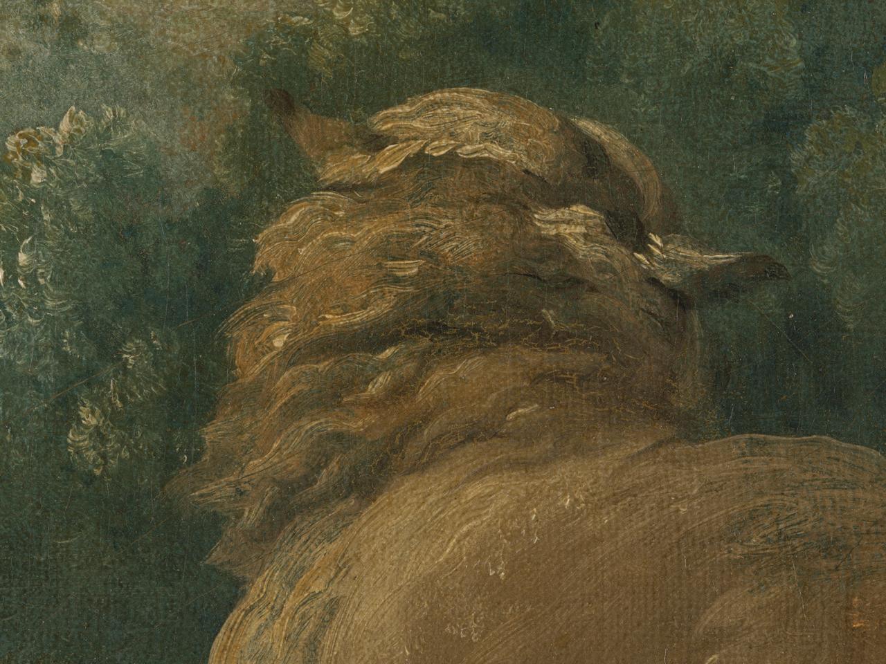 Detail des Boucher-Gemäldes, das seine schnelle und effiziente Malweise veranschaulicht.