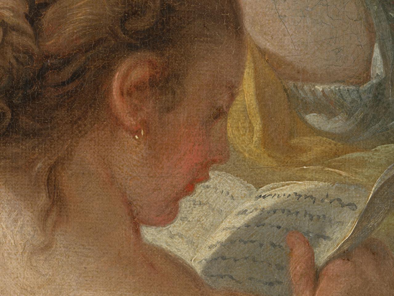 Detail des Gesichtes der lesenden Schäferin auf Bouchers Gemälde Zwei Schäferinnen von François Boucher, auf dem der Farbauftrag sichtbar wird