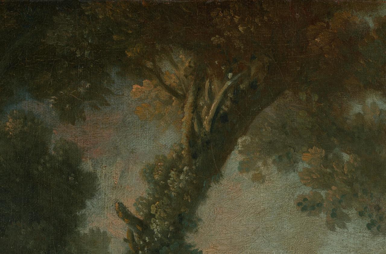 Detail des Boucher-Gemäldes Zwei Schäferinnen, auf dem die Pigmentveränderung zu sehen ist