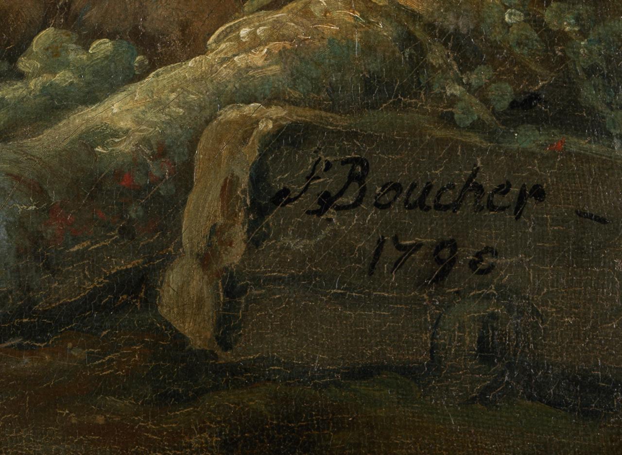 Detail der Signatur des Boucher-Gemäldes Zwei Schäferinnen