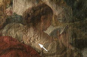 Detail einer Streiflichtaufnahme von Bouchers Gemälde Zwei Schäferinnen, in dem vor allem die Rückenpartie der lesenden Schäferin zu sehen ist
