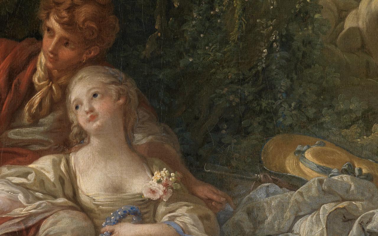 Detail des aneinandergeschmiegten Paares in der Bildmitte des Gemäldes Schäfer und Schäferin