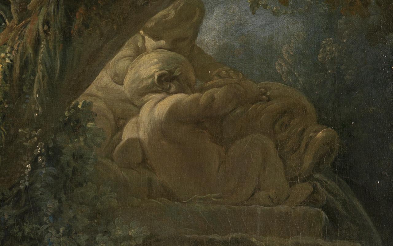 Detail des Gemäldes Schäfer und Schäferin, auf dem der mit Putten versehene Brunnen zu sehen ist