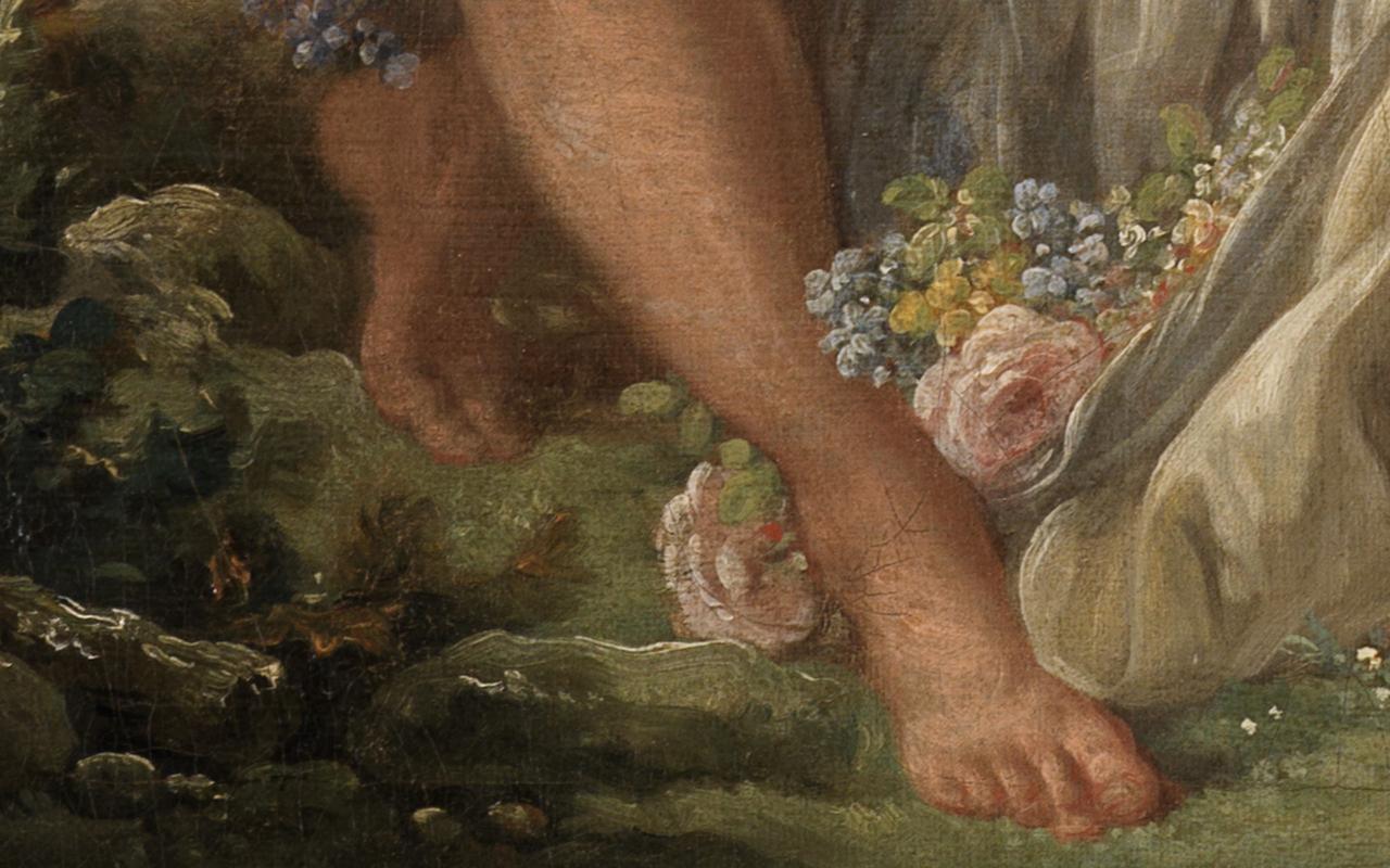 Detail des aus Rosen ausgestreckten Fußes des Schäfers in Bouchers Gemälde Schäfer und Schäferin