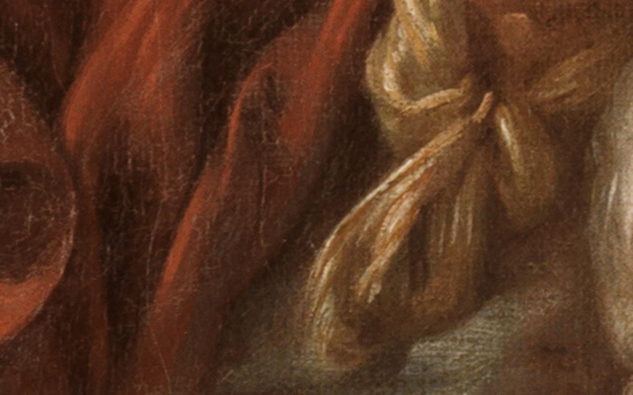 Detail des Halstuchs des Schäfers im Gemälde Schäfer und Schäferin von François Boucher